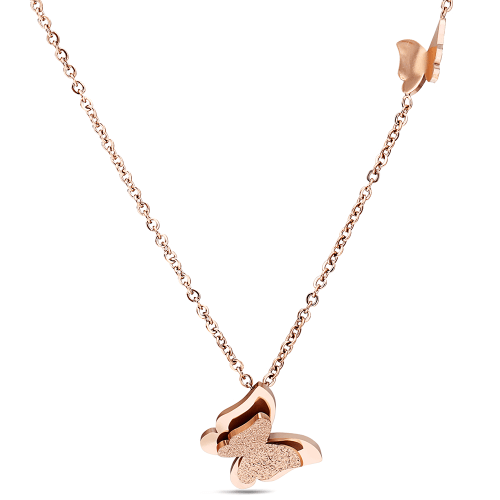 Stainless Steel Butterfly Necklace Gold Tone