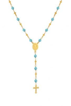 Stainless Steel Rosary Necklace Gold Tone