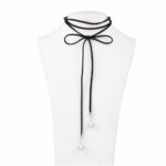 Black Velvet Choker Faux Pearl Ended