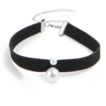 Black Velvet Choker Necklace Pearl Design