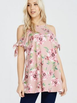 Cold Shoulder Floral Print Top Rose Design