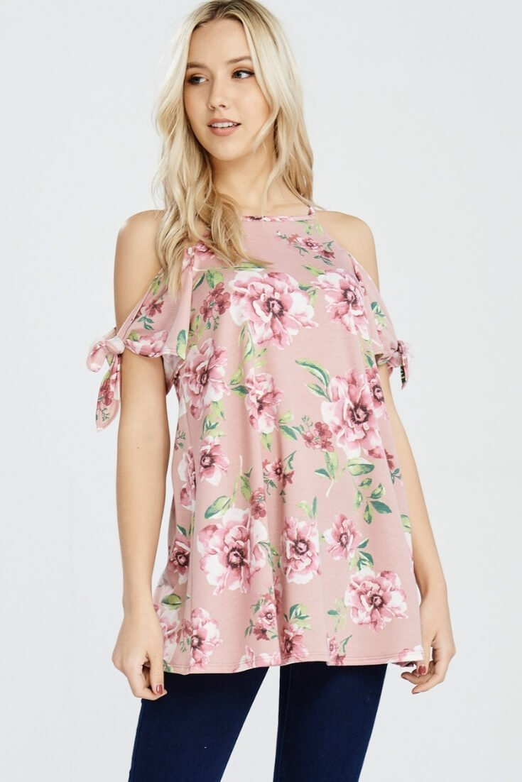 65f7b166360102 Cold Shoulder Floral Print Top Rose Design - UShopTwo