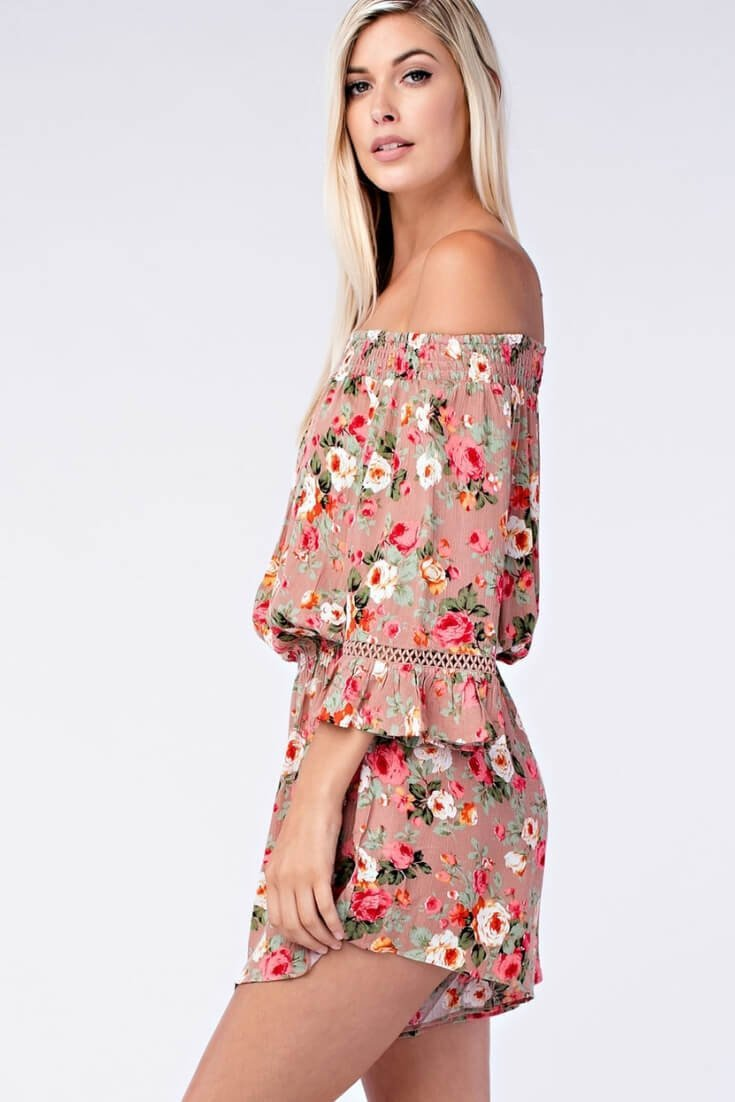 Floral Print Romper Off The Shoulder