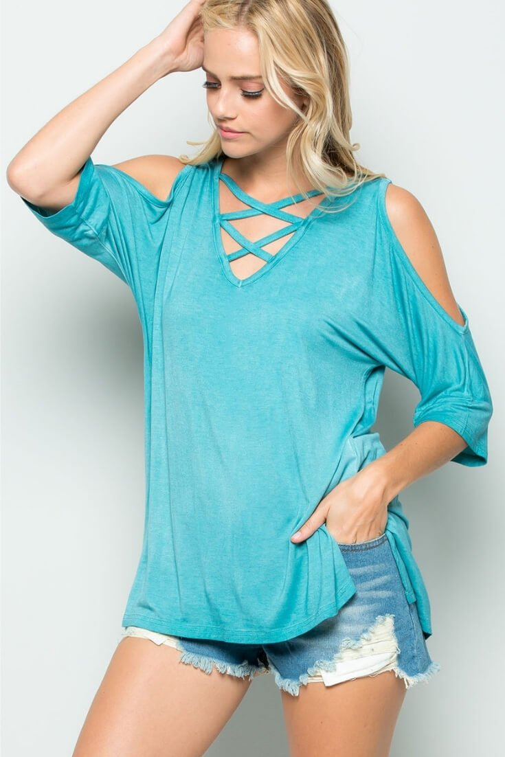 Open Shoulder Top Criss Cross Front