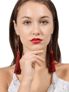 Red Beaded Tassel Earrings Fringe Design