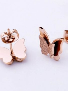 Stainless Steel Butterfly Earrings Gold Tone