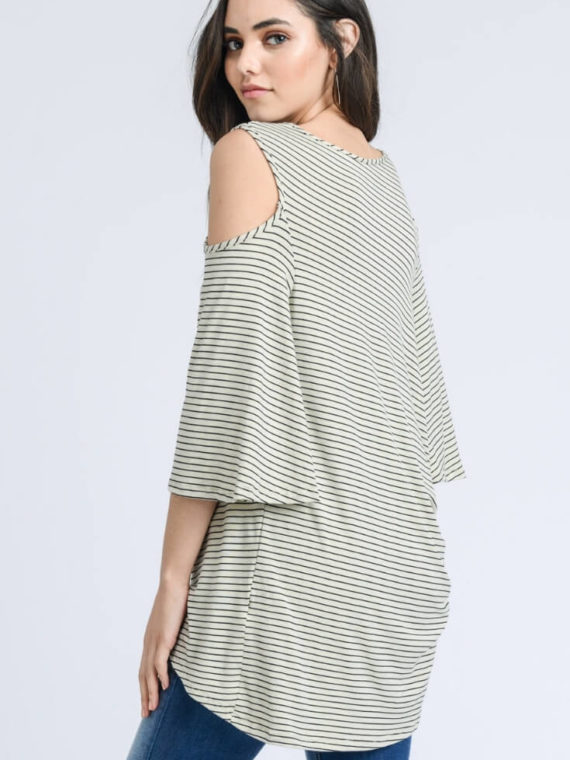 7fc86c301f3 Twisted Hem Top Open Shoulders Striped Twisted Hem Top Open Shoulders  Striped
