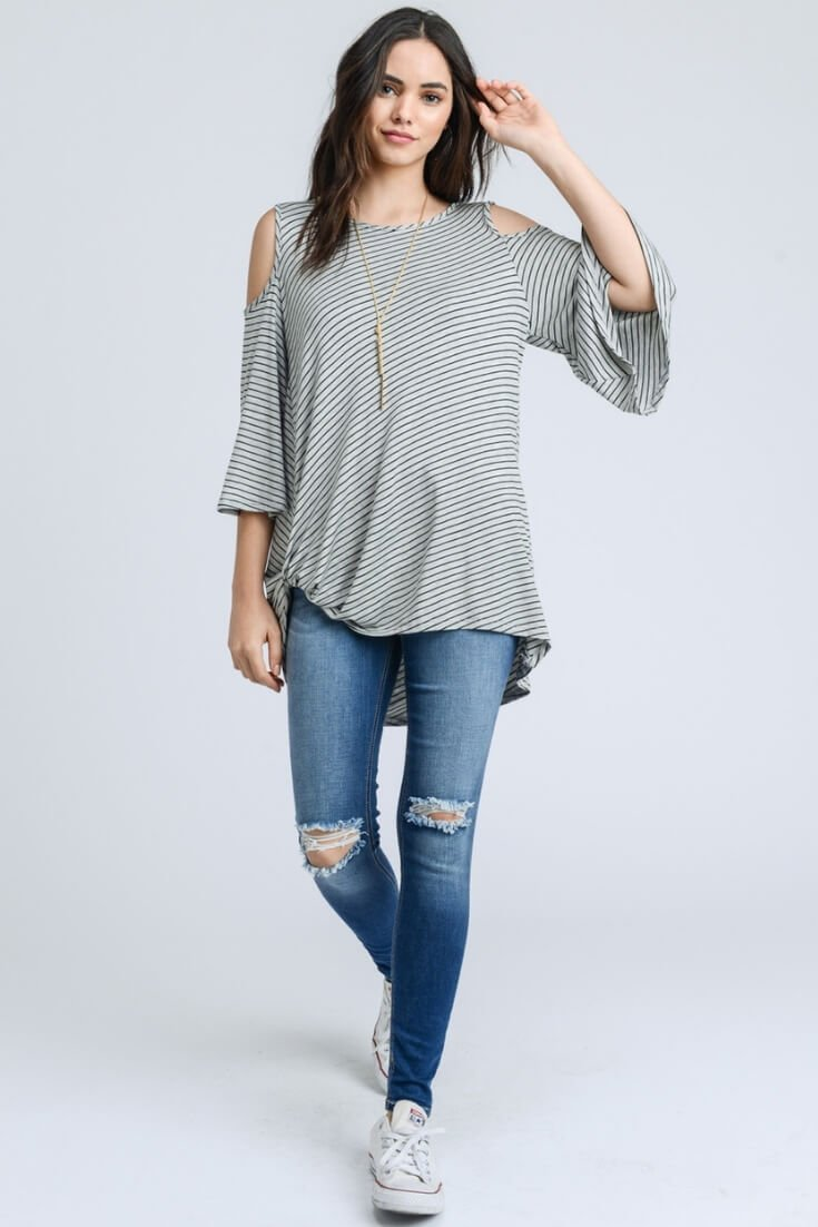 Twisted Hem Top Open Shoulders Striped
