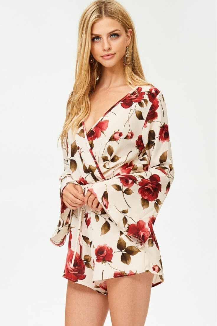 Bell Sleeve Romper Floral Surplice Top