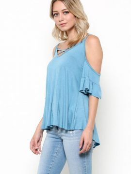 Criss Cross Neck Top Open Shoulder