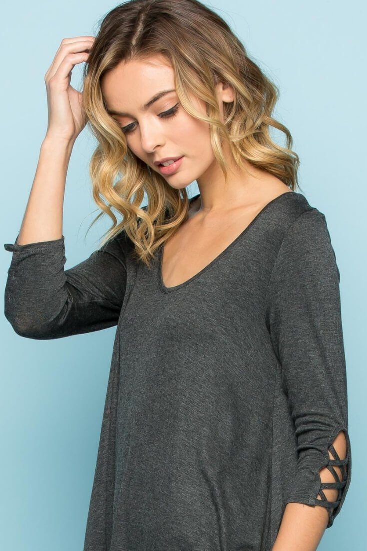 Criss Cross Sleeves Tunic Top V Neck