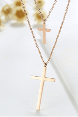 Double Layer Cross Necklace Stainless Steel