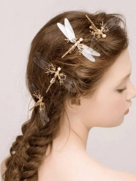 Dragonfly Hair Clip Gold Tone Bobby Pins