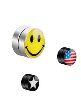 Magnetic Non Pierced Earrings Emoji Design