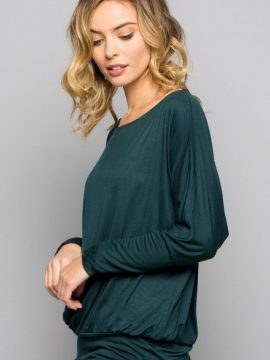 Off Shoulder Dolman Top Hunter Green