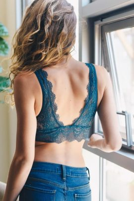 Plunge Lace Bralette Sexy Teal Crop Top