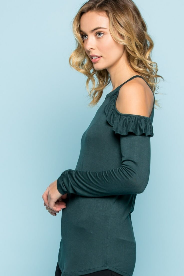 Ruffle Sleeve Cold Shoulder Top Hunter Green