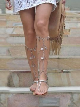 Barefoot Gladiator Sandals Silver Tone