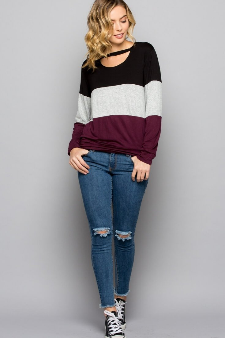 Color Block Long Sleeve Cut Out Top