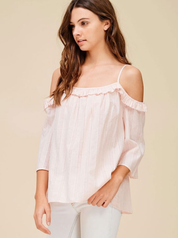 Ruffle Off Shoulder Top Cute Relaxed Fit