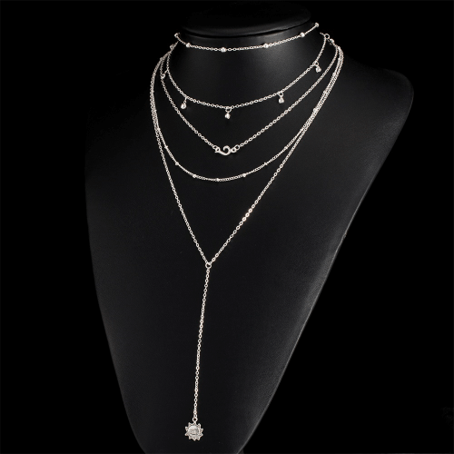 Multilayer Tassel Necklace Silver Tone 1