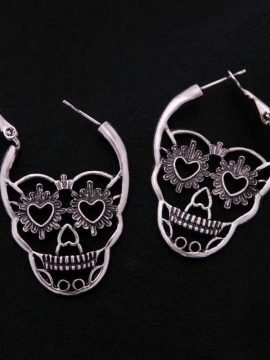 Skeleton Hoop Earrings Silver Tone Metal
