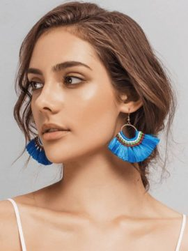 Boho Tassel Earrings Gold Tone Fish Hook