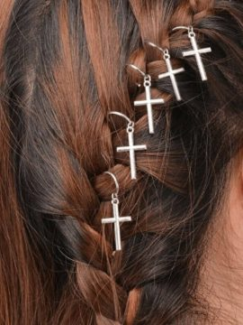 Cross Design Hair Ring Silver Tone Metal