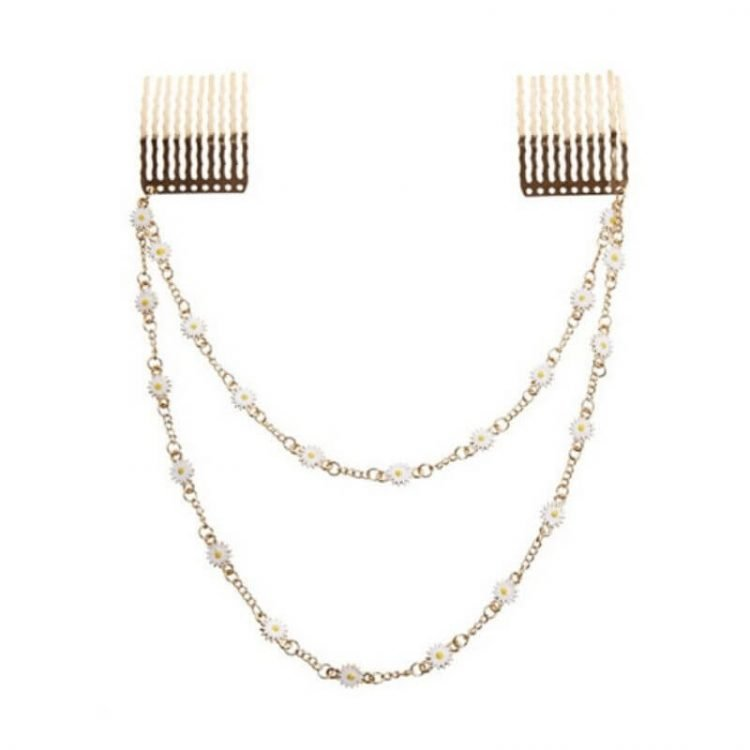 Floral Head Chain Hair Comb Clip Jewelry