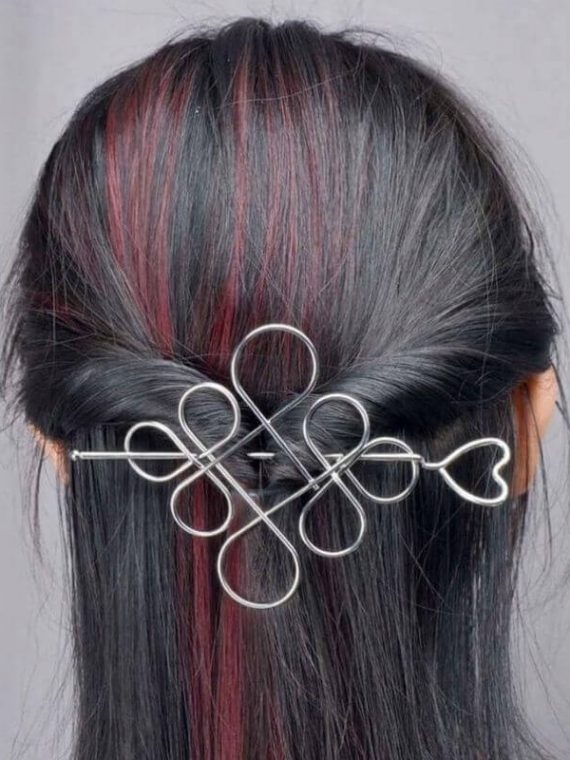 Hair Slide Silver Tone Hair Bun Holder