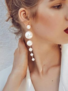 Long Pearl Drop Earrings Gold Tone Metal