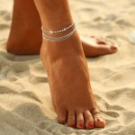 Multi Chain Anklet Silver Tone Jewelry
