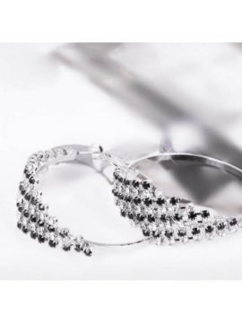 Rhinestone Hoop Earrings Silver Tone Metal