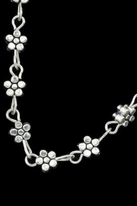 Link Chain Anklet Daisy Heart Design
