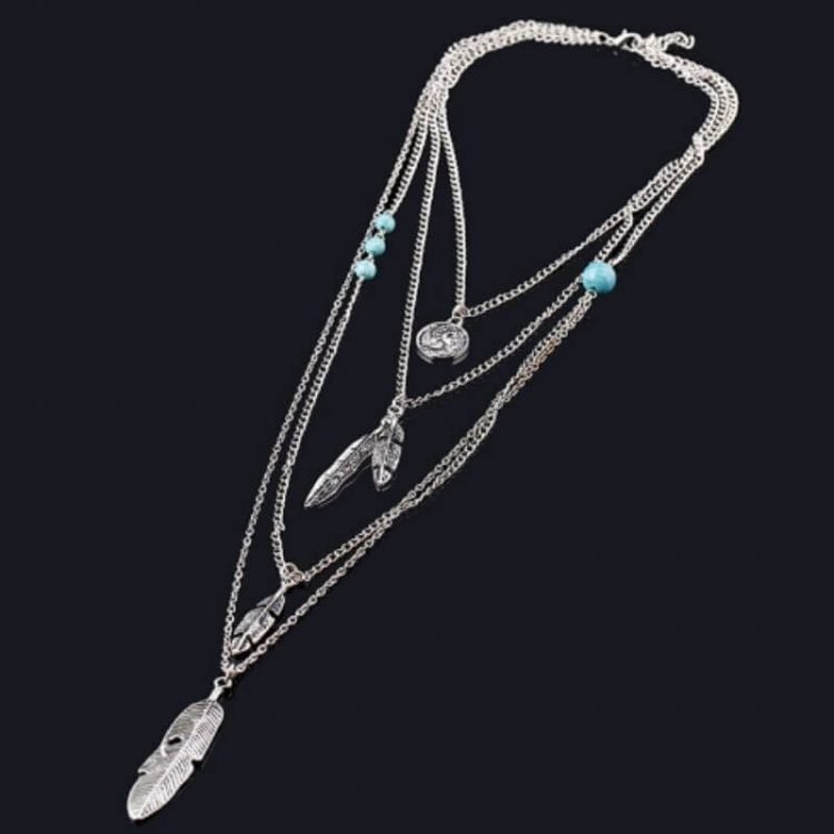 Multilayer Necklace Silver Tone Feathers