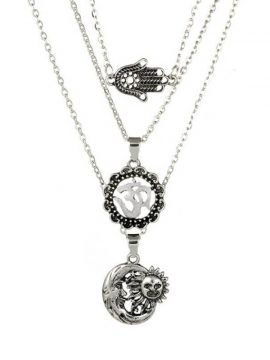 Silver Tone Sun Pendant Multilayer Necklace