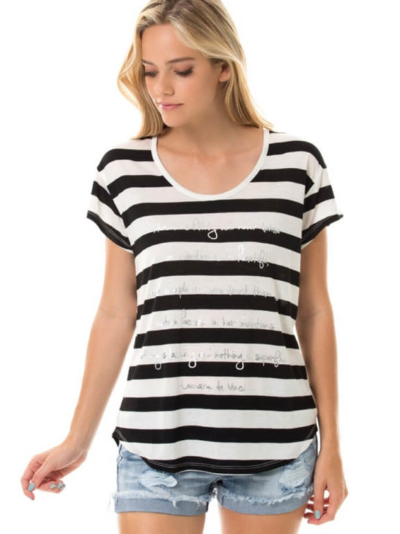 Striped Tee Womens Short Sleeve Top