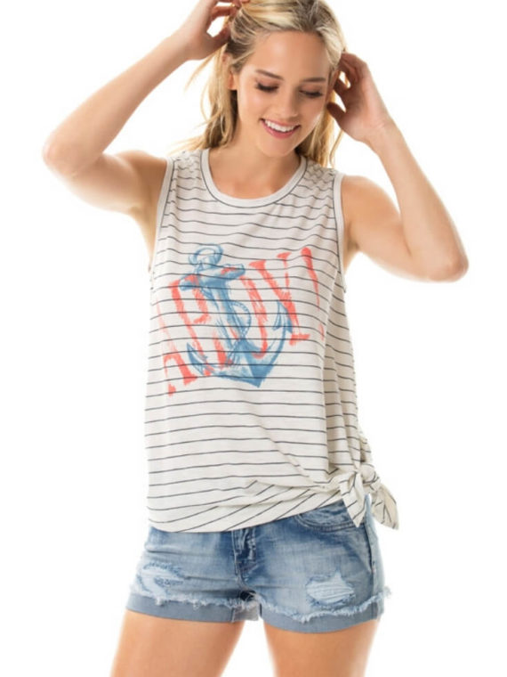 Tie Side Tank Top Stripe Asymmetric Hem