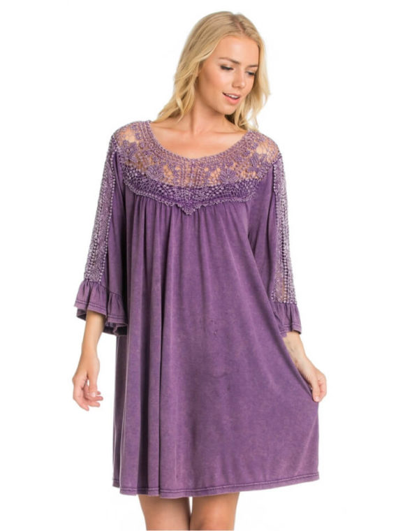Crochet Lace Trim Dress Purple Relaxed Fit
