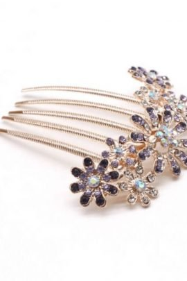 Crystal Flower Hair Comb Gold Tone Jewelry