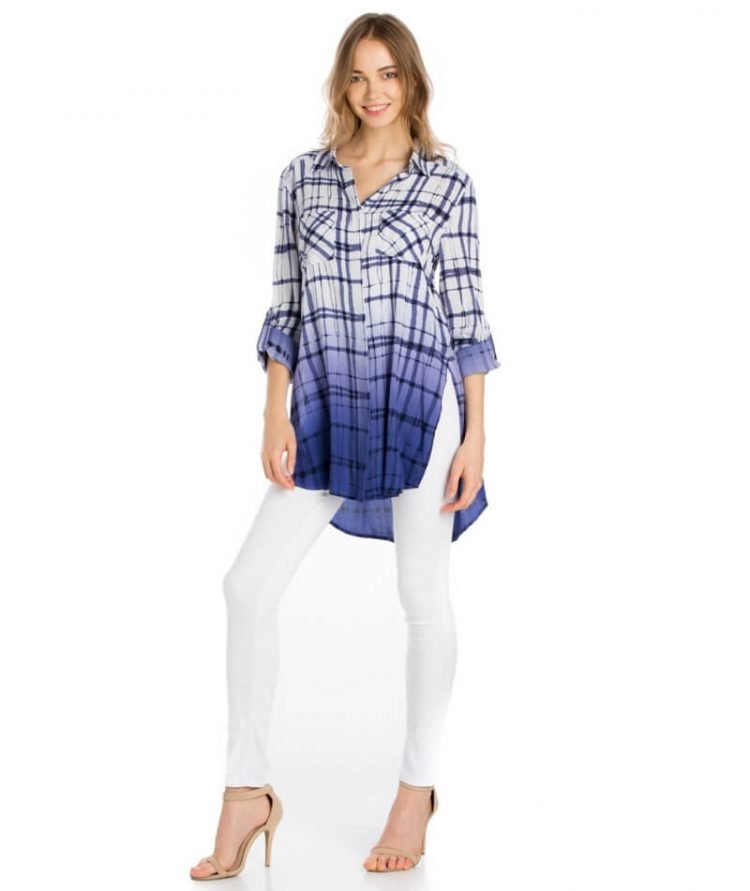 Dip Dye Plaid Tunic Top Roll Tab Sleeves