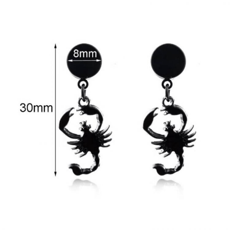 Scorpion Earrings Non Pierced Stud Black