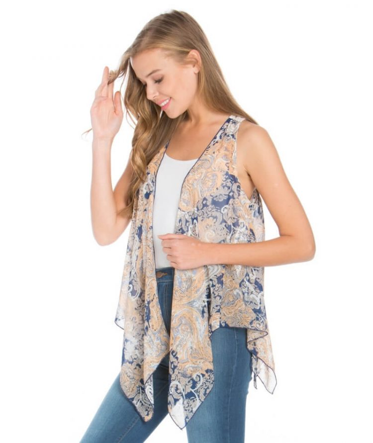 Sheer Lace Vest High Low Hemline