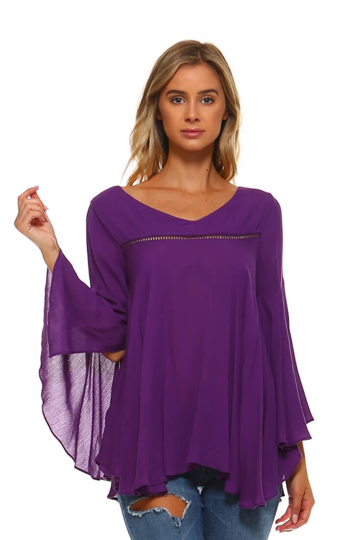 Solid Bell Sleeve Top Purple Relaxed Fit