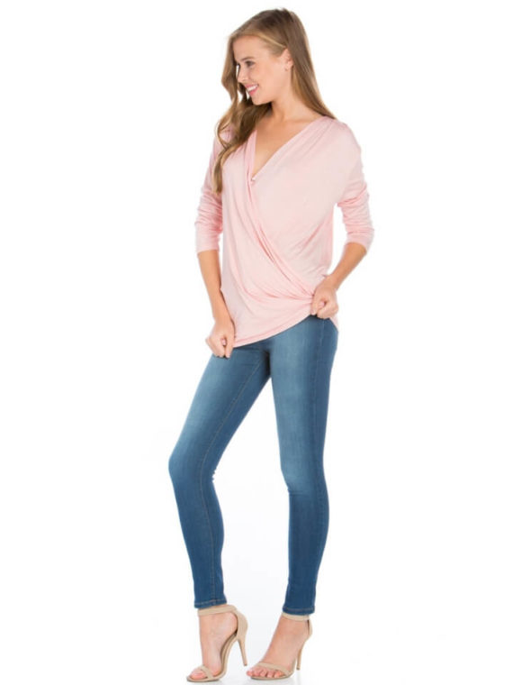 Solid Wrap Top Draped Front Blouse Pink