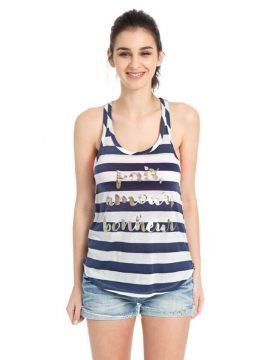 Striped Racerback Tank Top Loose Fit