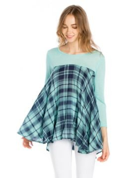 Swing Tunic Top Asymmetrical Hem Mint