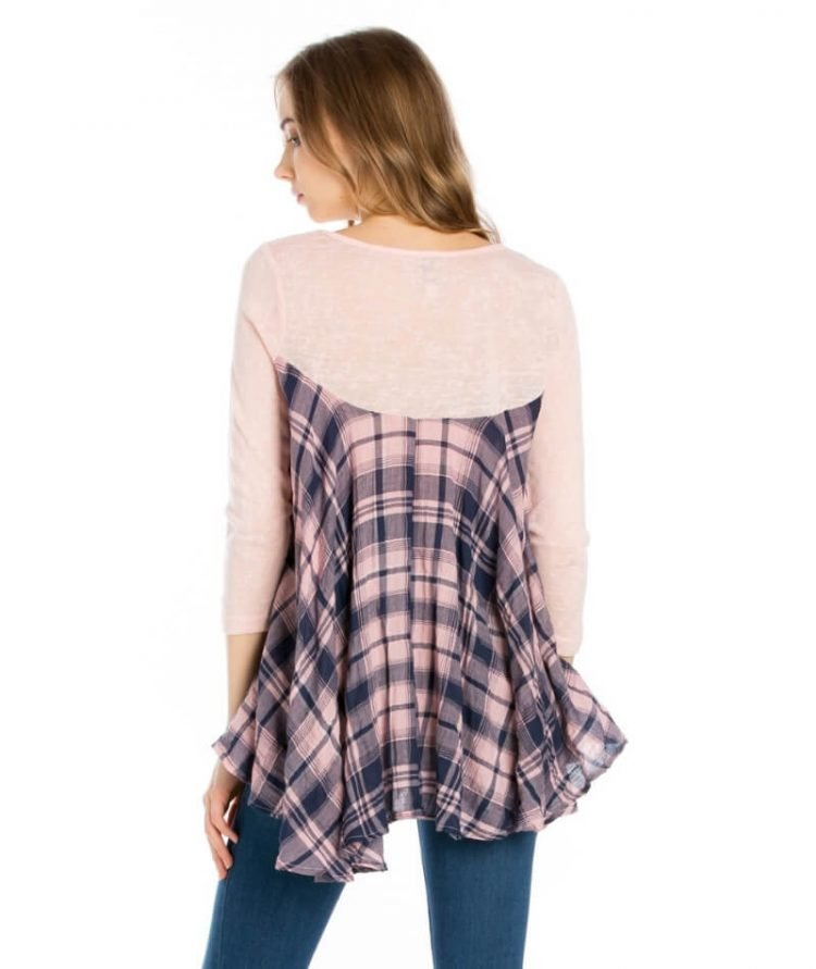 Swing Tunic Top Asymmetrical Hem Pink