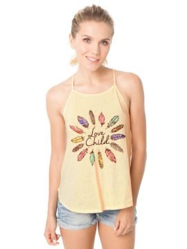 Boho Cami Top Feather Print Sleeveless
