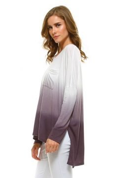 Dip Dye Tunic Long Sleeve Purple Taupe